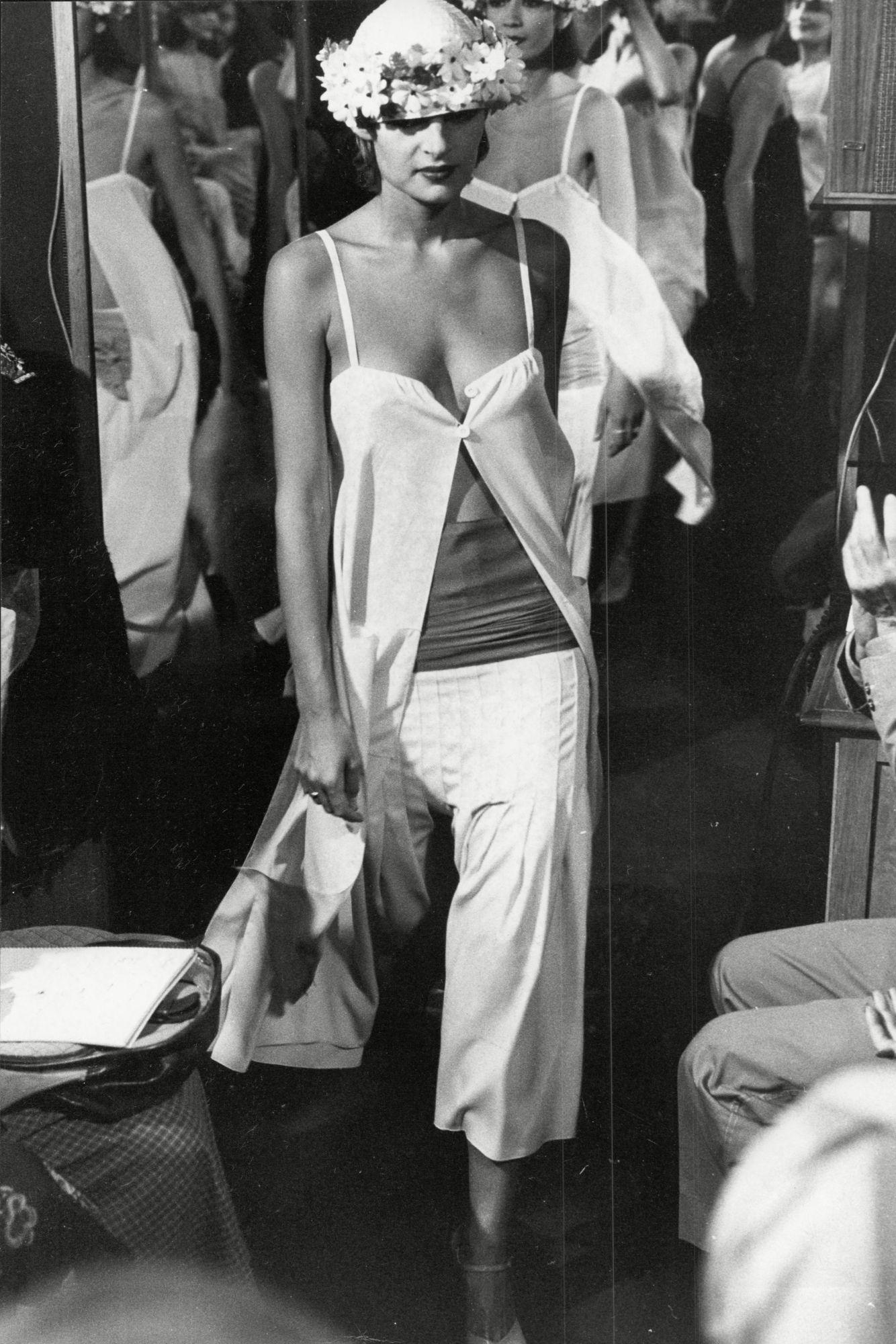Fashion Women 1975 Model Wearing Fashions By Sonia Rykiel.